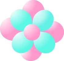 Balónky kytka světle růžová-light green