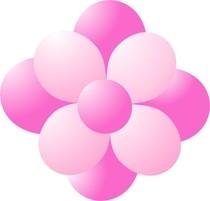 Balónky kytka tmavě růžová-světle růžová