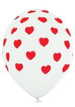 Balónky bílé srdíčka 6 ks 30 cm