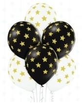 Balónky černé a bílé s potiskem zlaté hvězdy 6 ks 30 cm mix barev