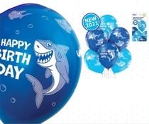 Balónky narozeniny žralok 6 ks 30 cm
