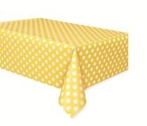Ubrus žluto - bílé tečky 137cm x 274cm