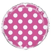 Fóliový balónek růžovo - bílé tečky 45cm