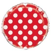 Fóliový balónek červeno - bílé tečky 45cm