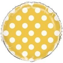 Fóliový balónek žluto - bílé tečky 45cm