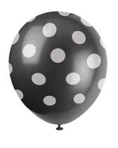 Balónky černé s puntíky 6 ks