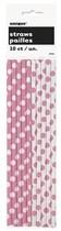 Slámky papírové 10ks růžovo - bílé