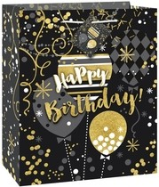 Taška na dárek šťastné narozeniny 18,5 cm x 22,5 cm x 10 cm