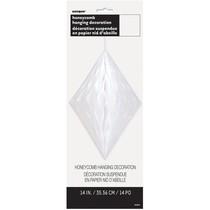 Závěsná dekorace diamant 35cm bílý