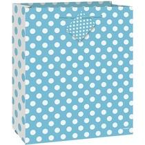 Taška na dárek velká světle modro - bílé tečky 27cm x 33 cm