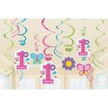 Závěsné dekorace 1. narozeniny holka 12 ks