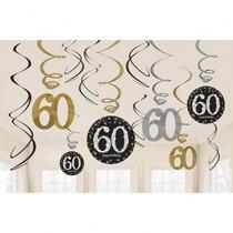 Závěsné dekorace 60 lesklé 12 ks