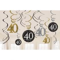 Závěsné dekorace 40 lesklé 12 ks
