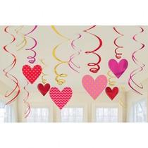 Srdíčka závěsná dekorace 12 ks