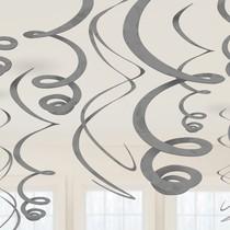 Závěsná dekorace stříbrná 12ks 55,8 cm