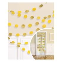 Závěsná dekorace žlutá s glitry 6 ks, 213 cm