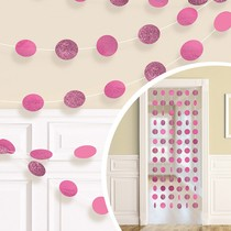 Závěsná dekorace růžová s glitry 6 ks, 213 cm