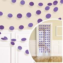Závěsná dekorace fialová s glitry 6 ks, 213 cm