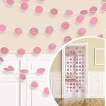 Závěsná dekorace světle růžová s glitry 6 ks, 213 cm