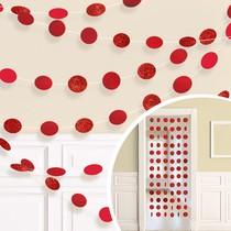 Závěsná dekorace červená s glitry 6 ks, 213 cm