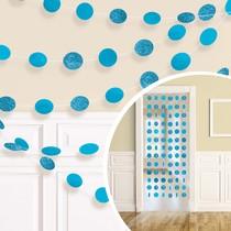 Závěsná dekorace světle modrá s glitry 6 ks, 213 cm