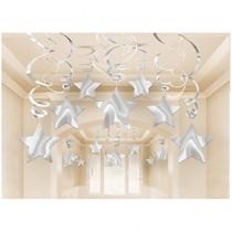 Závěsná dekorace stříbrná 30ks 80cm