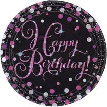 Talíře šťastné narozeniny pink 8 ks 23 cm