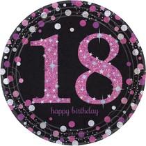 Talíře 18. šťastné narozeniny pink 8 ks 23 cm