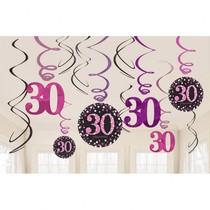 Závěsné dekorace 30. narozeniny pink 12 ks lesklé