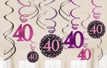 Závěsné dekorace 40. narozeniny 12 ks
