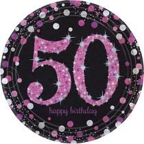 Talíře 50. šťastné narozeniny pink 8 ks 23 cm