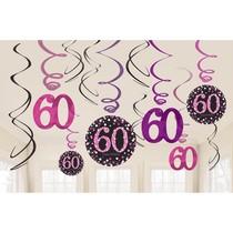 Závěsné dekorace pink 60 lesklé 12 ks