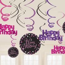 Závěsné dekorace Happy Birthday 12 ks