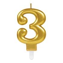 Svíčka číslo 3 zlatá