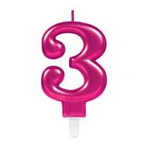 Svíčka číslo 3 růžová