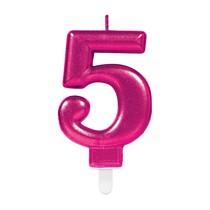 Svíčka číslo 5 růžová