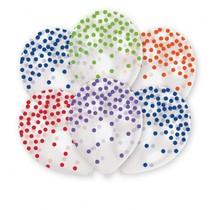 Balónky barevné konfety s potiskem 6 ks 27,5 cm