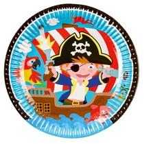 Pirát talíře 8 ks 23 cm papírové