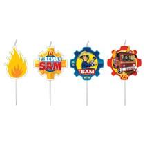 Požárník Sam svíčky 4 ks 7,3 cm