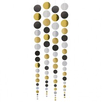 Závěsná dekorace zlatá, stříbrná, černá 4 ks 1,3 m