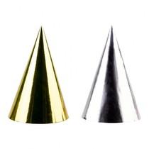 Čepičky zlaté a stříbrné metalické 4 ks, 17 cm