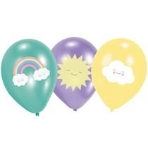 Duha, sluníčko, mráček balónky 6 ks 27,5cm