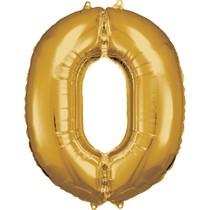 Balónek fóliový narozeniny číslo 0 zlatý 86cm