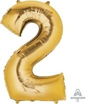 Balónek fóliový narozeniny číslo 2 zlatý 86cm