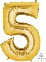 Balónek fóliový narozeniny číslo 5 zlatý 86cm