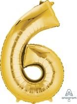 Balónek fóliový narozeniny číslo 6 zlatý 86cm