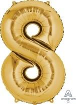 Balónek fóliový narozeniny číslo 8 zlatý 86cm