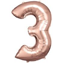 Balónek fóliový narozeniny číslo 3 růžovo-zlaté 86cm