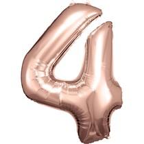 Balónek fóliový narozeniny číslo 4 růžovo-zlaté 86cm