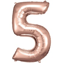 Balónek fóliový narozeniny číslo 5 růžovo-zlaté 86cm